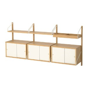 【IKEA/イケア/通販】 SVALNÄS 壁取り付け式収納コンビネーション, 竹, ホワイト(a)(S69184469)