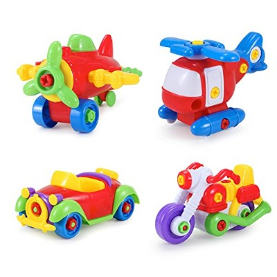 Berry President(TM) Set of 4: Take Apart Toy Amazing Detachable Planes And Cars Toy For Kids