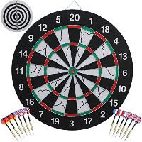 augymer Dart Board With 12ダーツ、18インチゲームBristleスチールヒントDartboardスコアボードキット