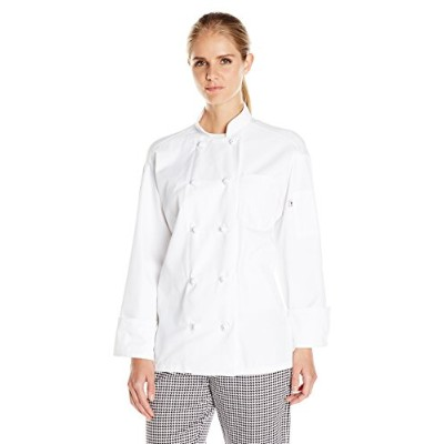 Uncommon Threads 0427-2503 Classic Knot with Mesh Chef Coat in White - Medium