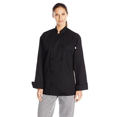 Uncommon Threads 0402-0101 Classic Chef Coat 10 Buttons in Black - XSmall