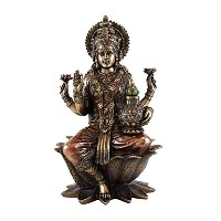 12-inch Seated Lakshmi Hindu Goddess of Good Fortuneと富RealブロンズパウダーCold Cast Statue