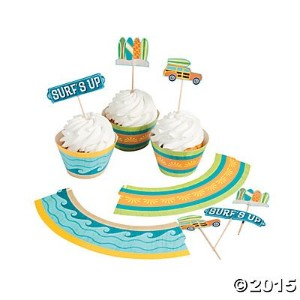 1x Surf 's Up Cupcake Wrappers with Picks–50の各