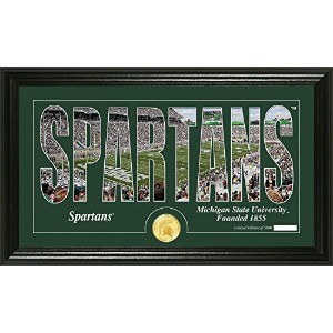 """NCAA Michigan State Spartans Coin Panoramic Photo Mint、22"""" x 15"""" x 4インチ、ブロンズ"""