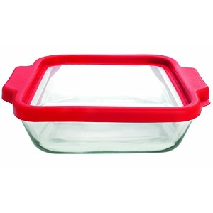 Anchor Hocking Set of 3 Square Glass Baking Dishes with TrueFit Lid, 8-Inch, Red [並行輸入品]