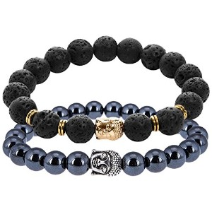 ON SALE Buddha Bracelet - 1 Hematite and 1 Black Lava. Women or Men. Value Pack by Earth Therapy