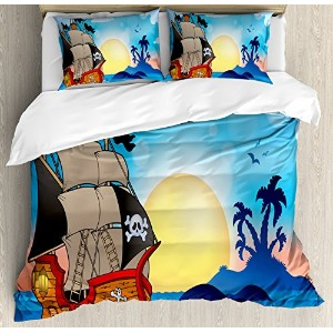 Pirate布団カバーセットby Ambesonne、アンティークVessel on Swirled波near small exotic island palm trees sunset印刷...