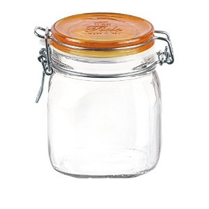Bormioli Rocco Fido Square Jar with Orange Lid, 25-1/4-Ounce, Set of 12 [並行輸入品]