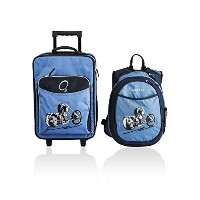 Obersee Kids Luggage and Backpack with Integrated Cooler, Blue Motorcycle [並行輸入品]