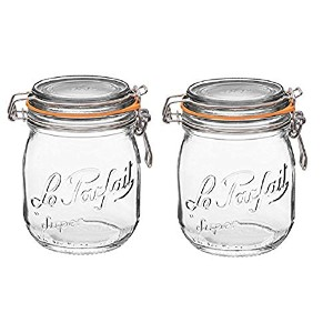 Le Parfait FrenchガラスCanning Jar with 85 mmガスケットと蓋 – 3 / 4 ( 75 ) Liter .75 Liter (Pack of 2) クリア...