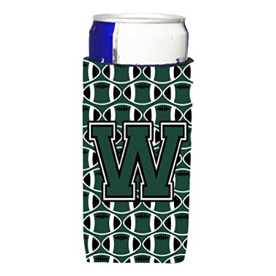 文字W FootballグリーンとホワイトUltra Beverage Insulators forスリム缶cj1071-wmuk