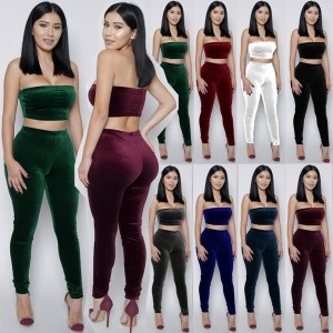 Sexy Lady 8 Colors New Velvet 2 Piece Strapless Crop Top + Bodycon High Waist Stretch Pants Trousers