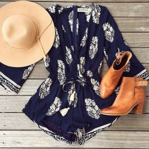 Long Sleeve Women s Floral Print Casual Beach Rompers Shorts Fashion White Deep Sexy V-neck