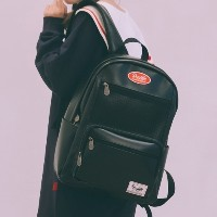 [Daylife] Leather layer backpack (black)