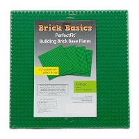 Lego Compatible Baseplate Green Large (10 x 10) 4 Pack by Brick Basics