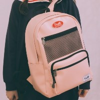 [Daylife] Leather layer backpack (pink)