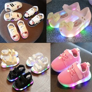 2017 kids shoes led  light up glowing sneakersjelly shoesSandals Slipper