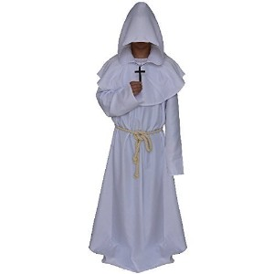 (LETSQK) LETSQK Men s Friar Medieval Hooded Monk Priest Robe Tunic Halloween Costume
