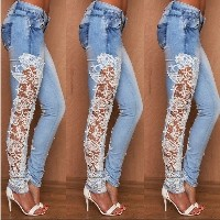 Women Skinny Lace Jeans Pants Floral Splice Crochet Stretch Denim Jeans Hollow Out Female Pencil Pan