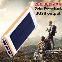 200000mAh Solar Power Bank  LED Lamps Solar Charger 3USB Mobile Power Battery Packup Portable Charge