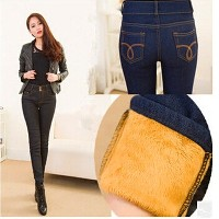 Women Winter jeans Gold Fleeces Inside Denim Jean Solid Pencil Pants Double Buttons Warm Thickening