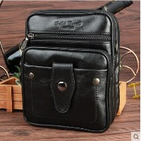 Leather small shoulder bag outdoor mini handbag multi-functional fashion wear belt pockets