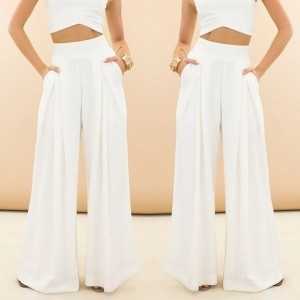 Women Pants White Long Trousers Wide Leg Pants ZB2463