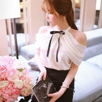 Korean Fashion Women Elegant White Blouses Crochet Chiffon Off the Shoulder Flounced Women Shirts...