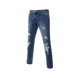 KOOLLOOK SJ3322 Mens High Quality Casual Pants Slim Straight Destroyed Jeans