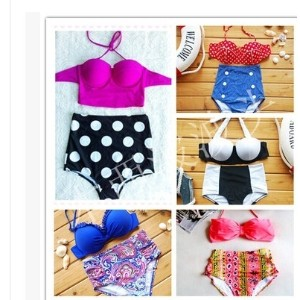 High waisted retro Bikini swimsuit female small chest steel support gather hot spring wave point of...