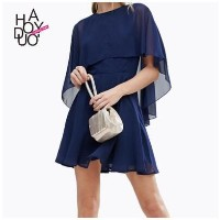2017 summer new womens fashion sexy perspective cloak sleeves chiffon A word dress female