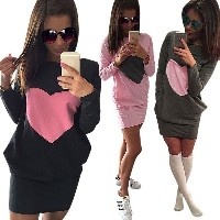 Women Casual Loose Top Heart Stitching Tunic Pockets Package Hip Mini Dress