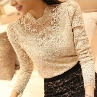 Women Tops And Blouses New Fashion Blusas Y Camisas Mujer Woman Long Sleeve Shirts Plus Size Lace Bl