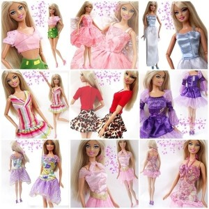 Kids Toy 15 Items 5 Mini Cute Handmade Dresses Clothes 5 Shoes 5 hangers For Barbie Doll