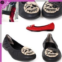 Gaz/CGSH0097 / / / with natural sheepskin / Skull / beads / decorations / / flat shoes / shoes /...