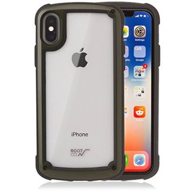 【ROOT CO.】iPhoneX 耐衝撃 ケース Gravity Shock Resist Tough & Basic Case.(カーキ)