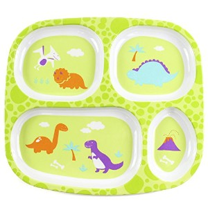 Bumkins Melamine Divided Plate, Dinos by Bumkins