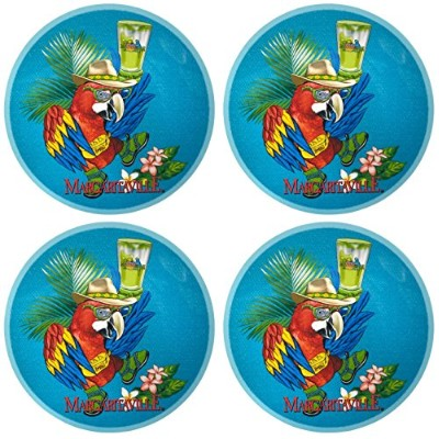 Margaritaville Tropical Blue Parrot with Fanny Packメラミンサラダ/デザートプレート、直径8.5-inch、各( Set of 4 )