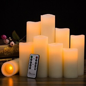 "Flameless Candles電池式キャンドルH 4 "" 5 "" 6 "" 7 "" 8 "" 9 "" RealちらつきワックスピラーLED Candle with 10-keyリモートとタイマーコントロールby hausware ,セットof 9 (アイボリー色)"