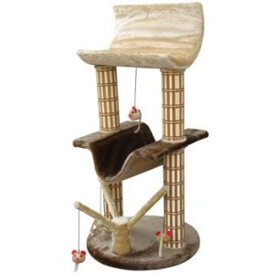 Cat-Life Multi-Level Lounger with Play Tree & Bamboo Posts, Brown/Beige - 20 x 20 x 42 Inches ...