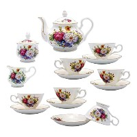 TransSino Treasures Fine Bone China 15ピースコーヒーセットカラフルBlossoms