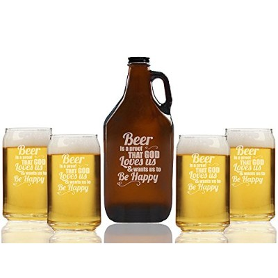 Beer Is A Proof That God Loves UsビールAmber Growler and can glasses ( Set of 5 )