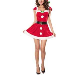 Zhhlinyuan ファッション Missy Claus Costume Gifts for Ladies Short Sleeve Naughty Cosplay Funny Red Dress...
