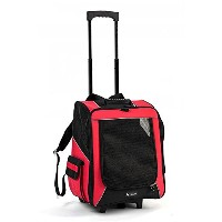 Red Large Dog Pet Trolley Carrier Stroller Travel Backpack Push Wheel Airline Cageレッドラージドッグペットトロリーキャ...