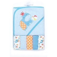 Hippo and Crab Hooded Towel and Washcloth Set, 6 Piece, Blue by Cutie Pie Baby