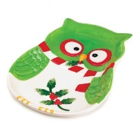 Koehler Home Decor Holiday Hoot Largeプレートby Goldlight