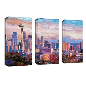 ArtWall 3ピースMarkus Bleichner ' Seattle Skyline with Space Needle ' gallery-wrappedキャンバスアートワーク 36x54...