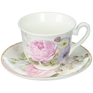 Delton Products Porcelain Adult Size Cup & Saucer with Matching Keepsake Box, Pink/Rose by Delton