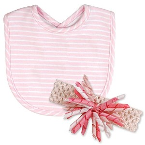 Stephan Baby Bib and Curly Bow Headband Gift Set, Pink and White Pinstripe by Stephan Baby