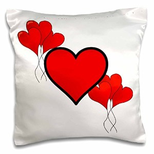フローレンHolidayグラフィック – Valentine Red Hearts And Baloons – 枕ケース 16x16 inch Pillow Case pc_37464_1